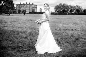 Bride outside a country manor house