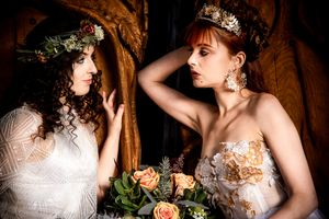 Two brides at a festival wedding in Kent