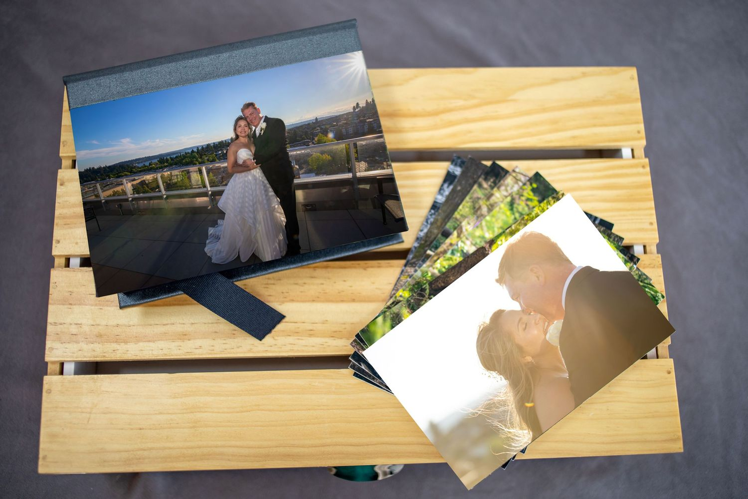 close up of wedding memory box