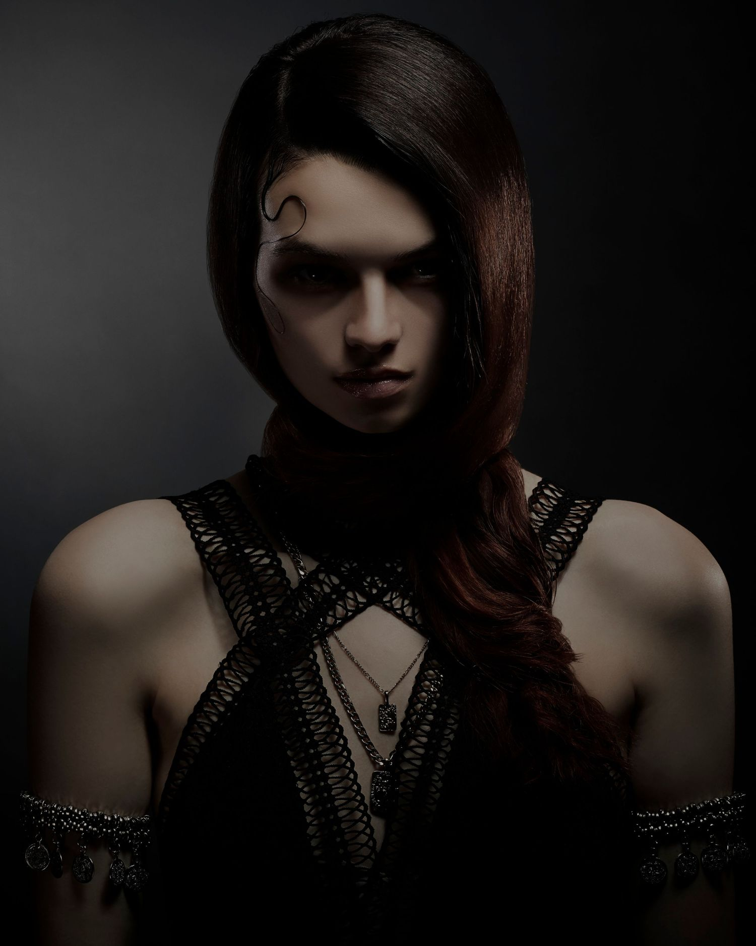 dark and moody high end hair photography