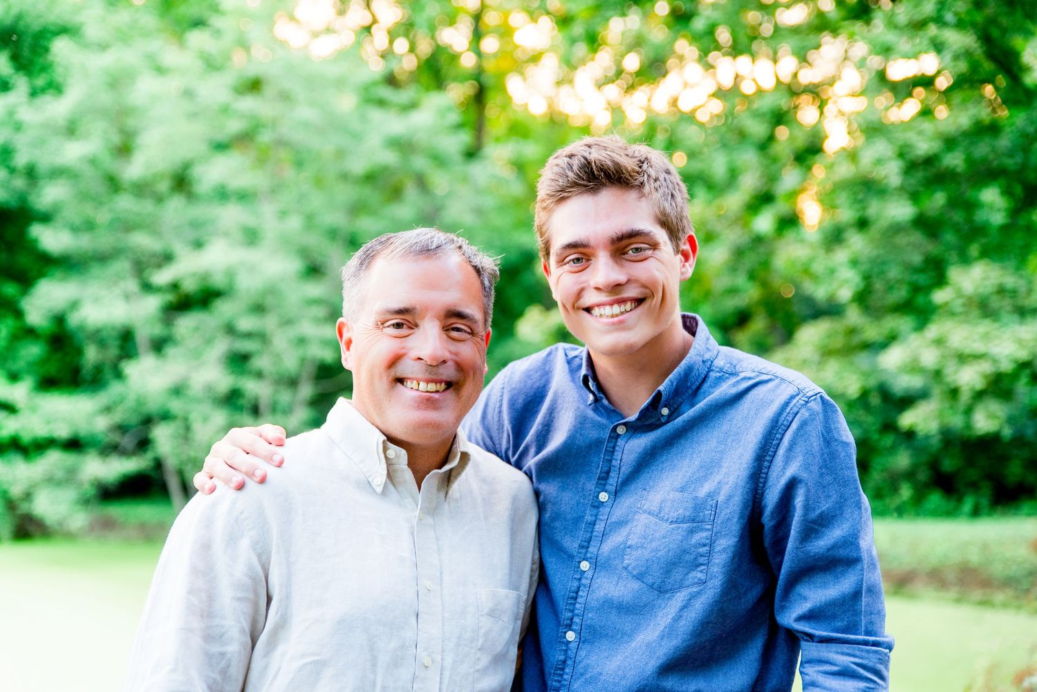 father and son, family photos, outdoors, smiling, summer, Cincinnati OH