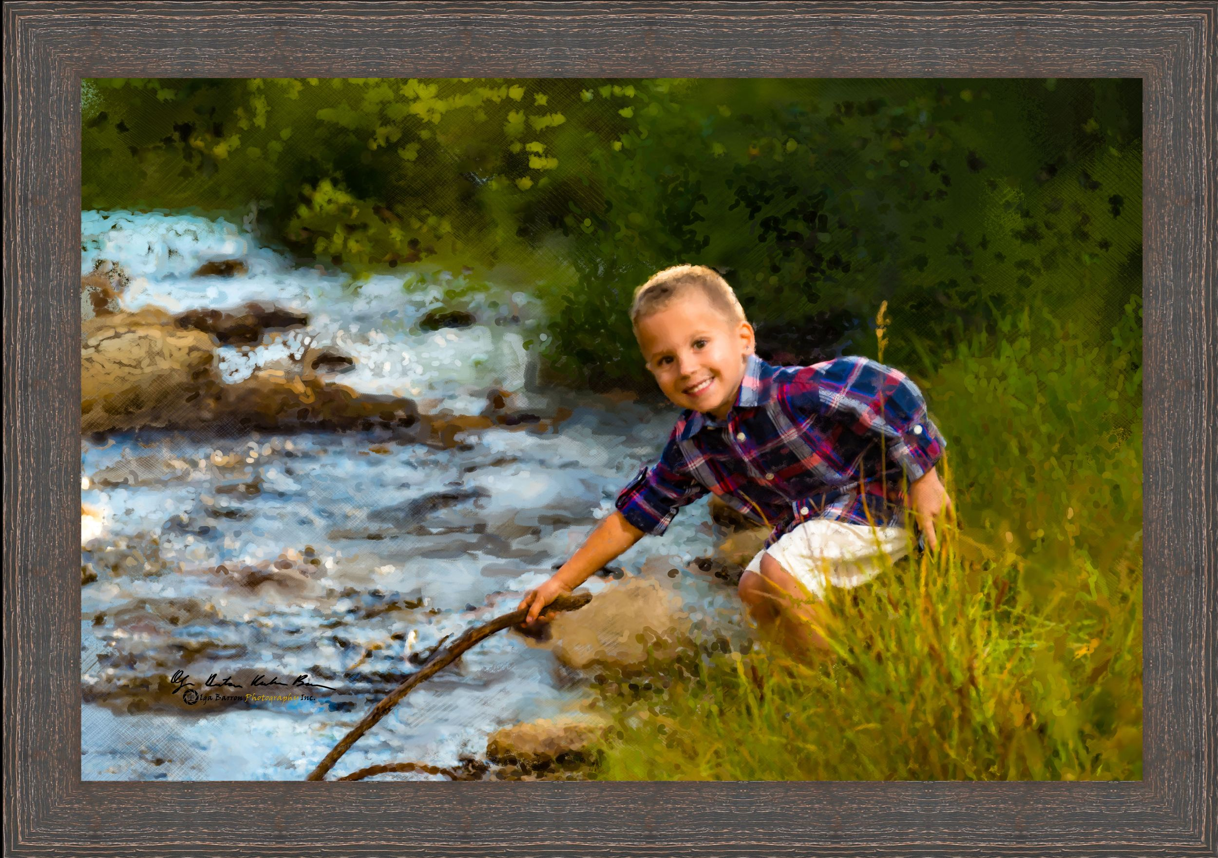 Framed Painterly Portrait of a little boy with stick by mountain river in fall golden colors