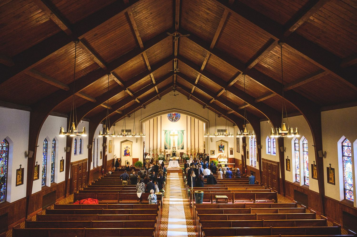 full view of church during wedding ceremony