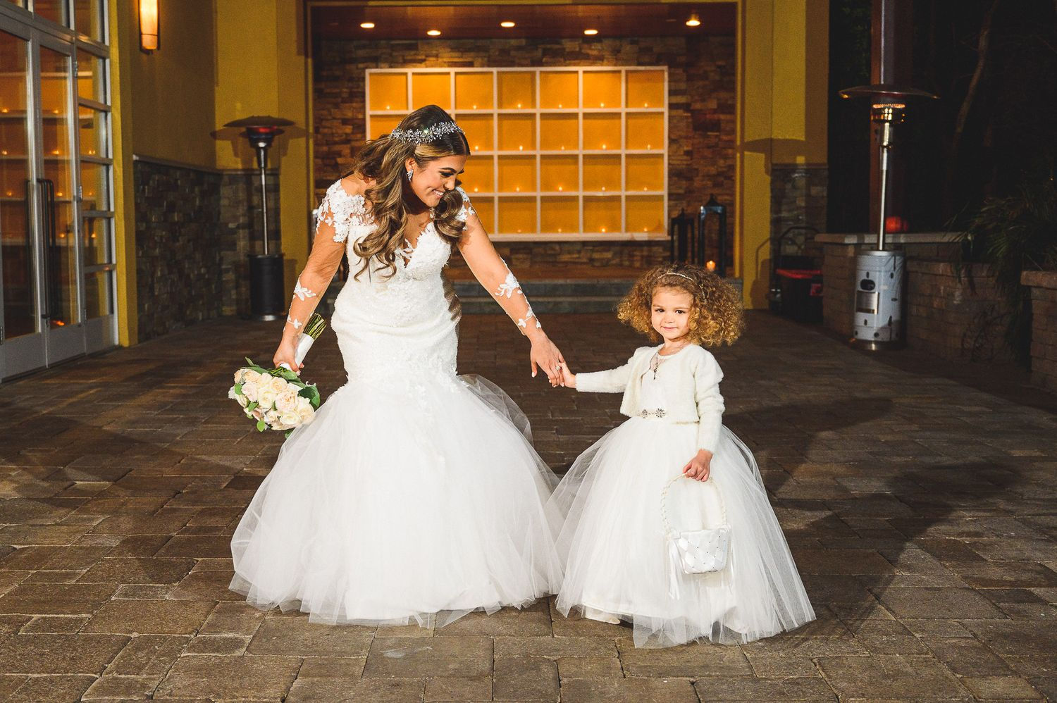 bride and flower girls portrait at stone house