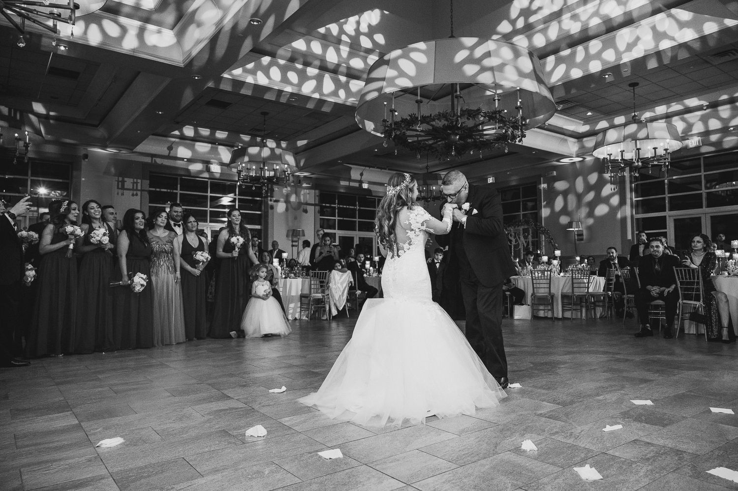 bride dancing with her father during parent dances at stone house
