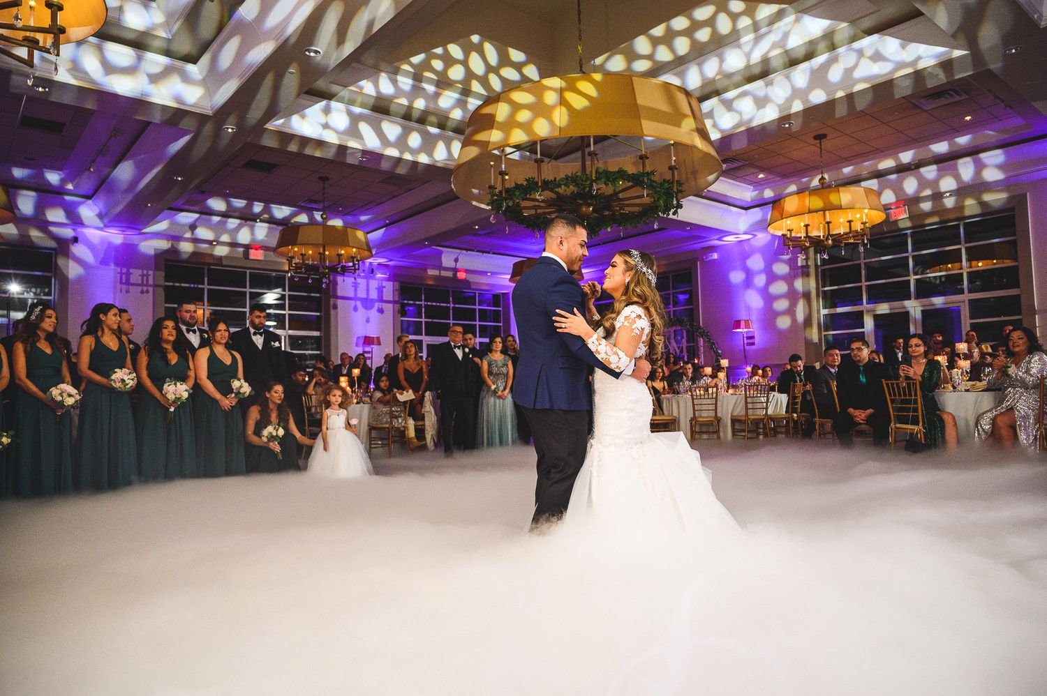 bride and groom first dance at stone house at stirling rdige