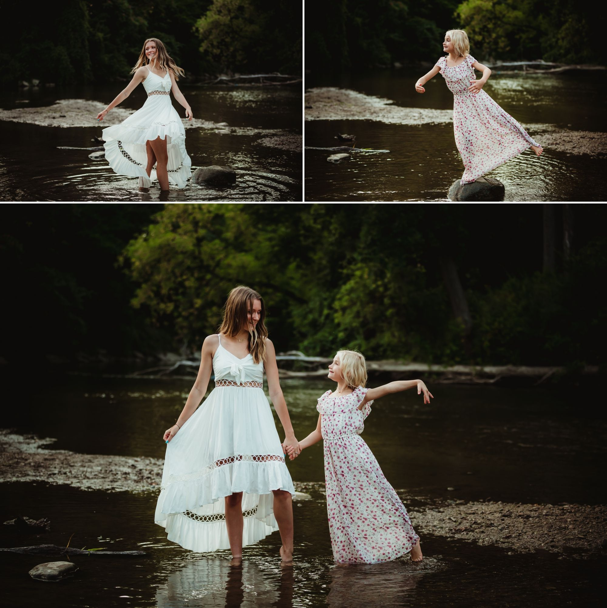 Two girls doing dance poses in a river.