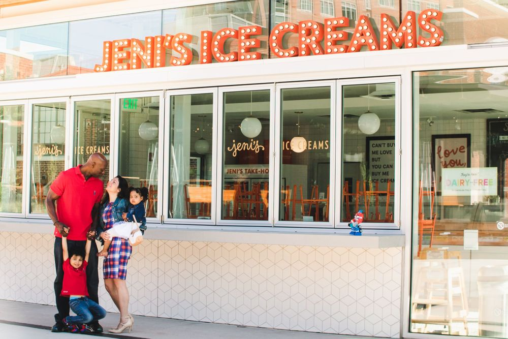 family standing in front of Jeni's Ice Creams in southend charlotte, NC