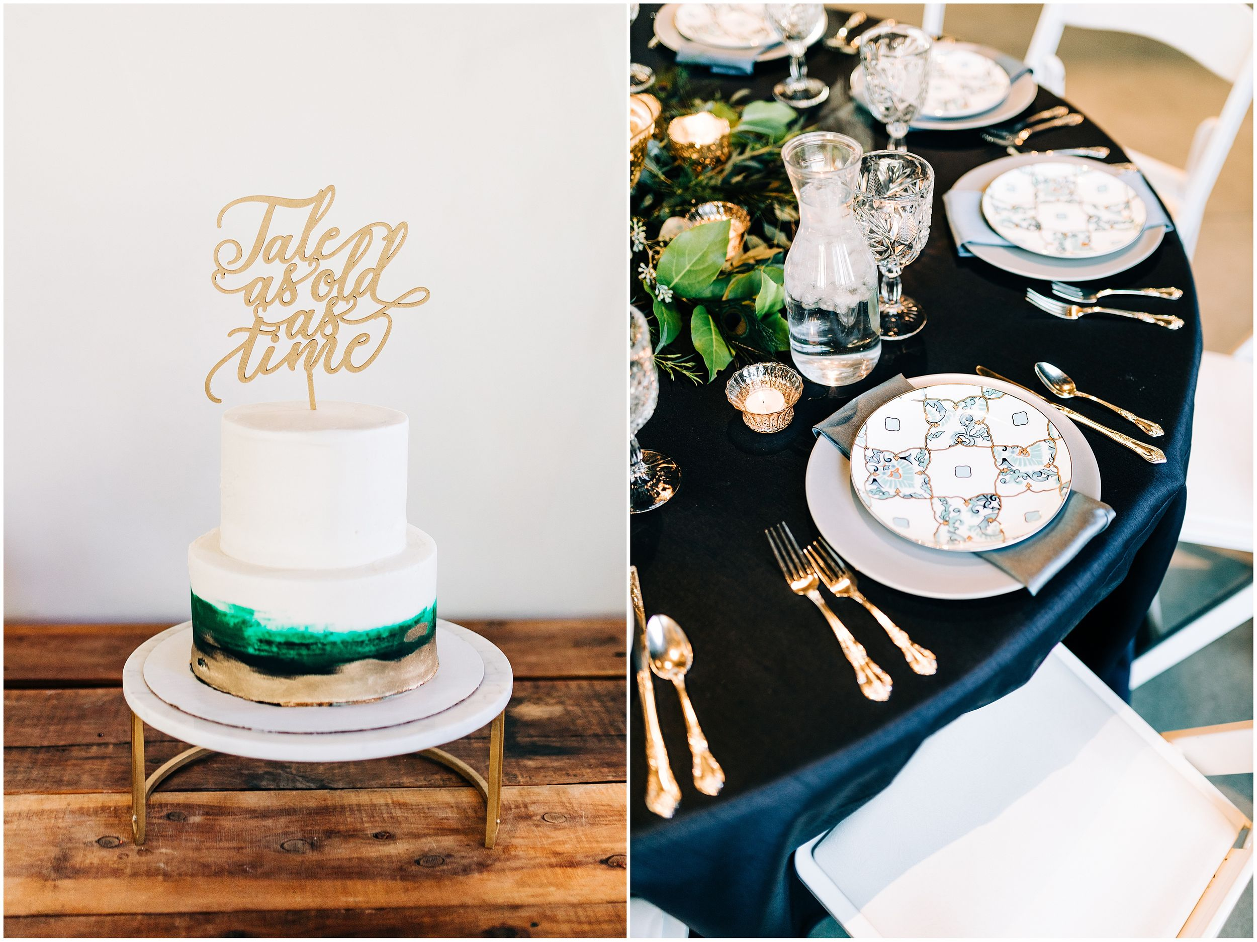 Table Setting and Wedding Cake
