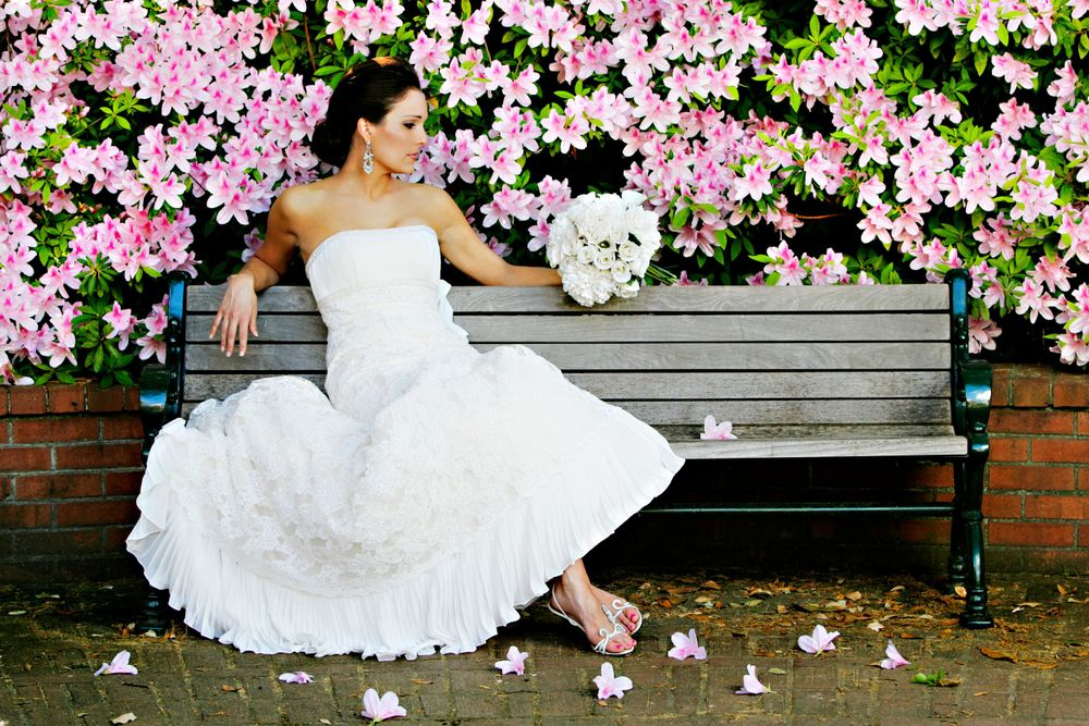 A bridal portrait at the University of South Carolina Horseshoe in Columbia, SC