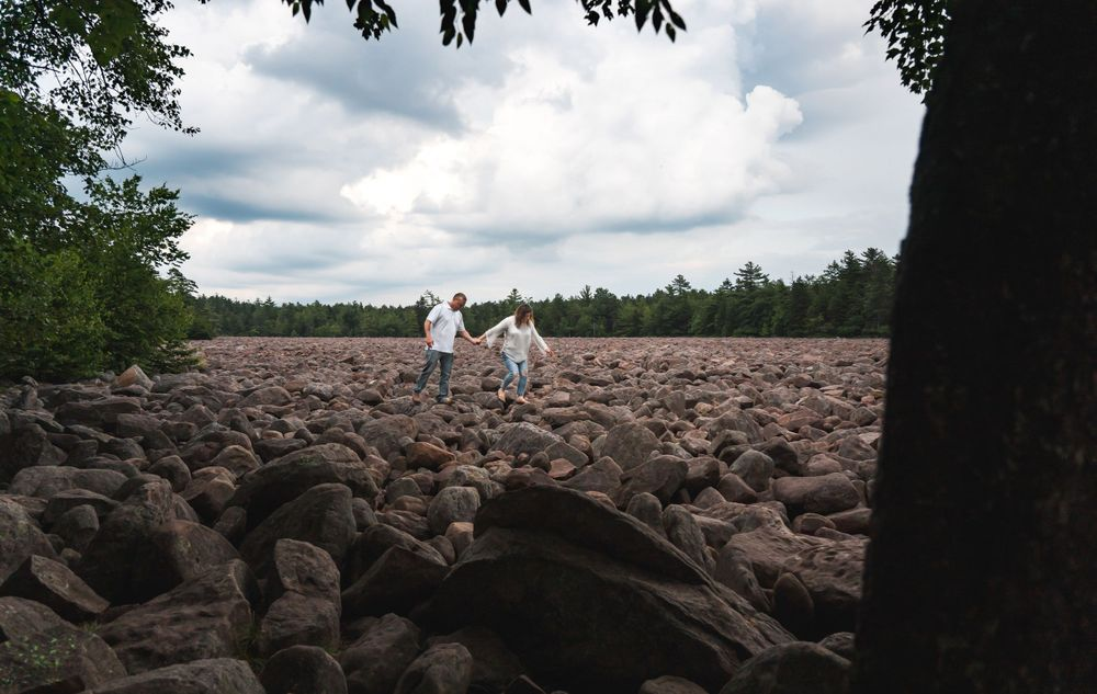 Engagement Couple at Boulder field Hickory Run State Park Preston Christman Wedding Photographer Lehigh Valley & Poconos