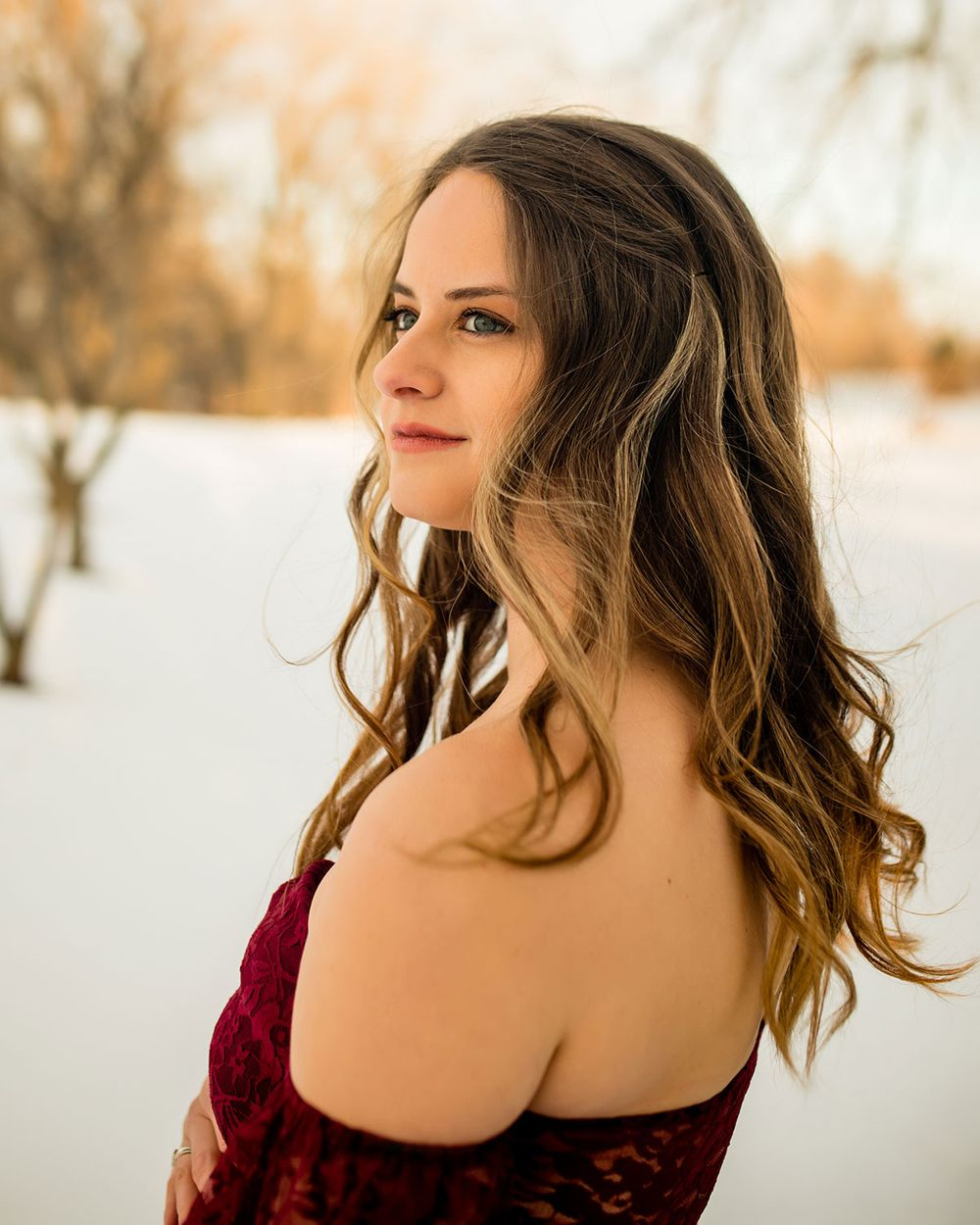 Snowy Winter Maternity Photo Session in Omaha, NE - BrightSide Photography