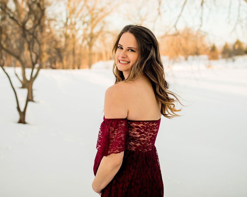 Snowy Winter Maternity Photo Session in Elkhorn, NE - BrightSide Photography