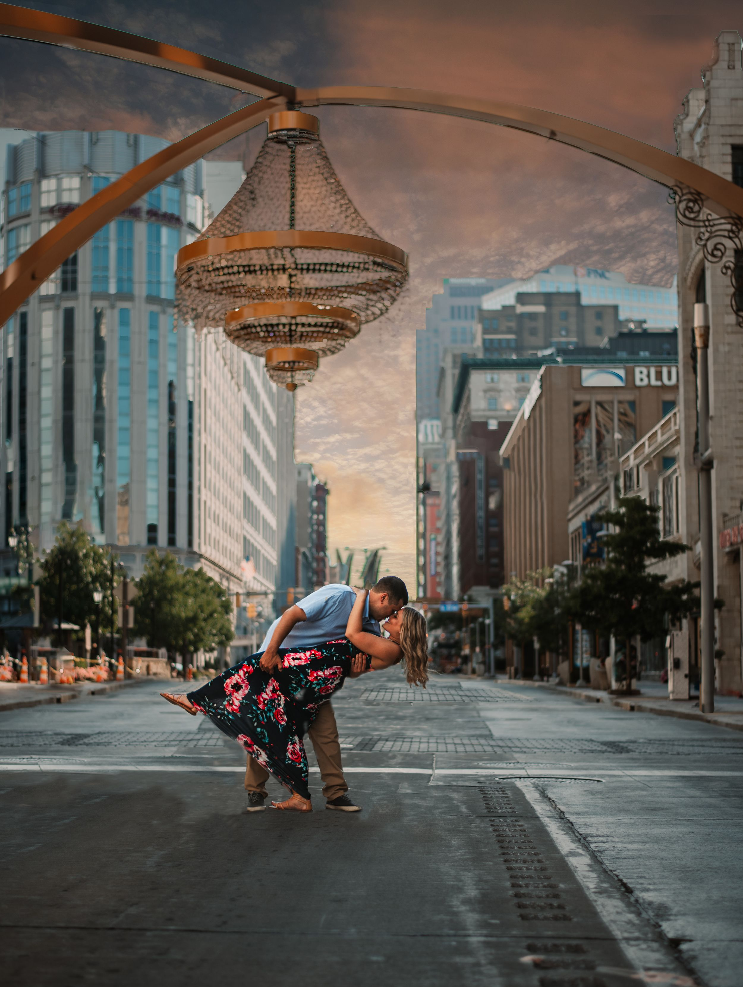 Jessica + Preston's Cleveland Engagement shoot at Playhouse Square. Shot in Cleveland, Ohio