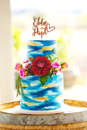 Colourful wedding cake with cake topper made by La Ombre Creations at Pialligo Estate