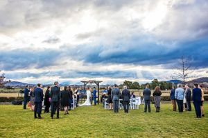 Wedding guests waiting for the ceremony to start at Pialligo Estate in Canberra