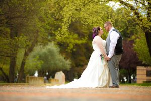 Bride and groom wedding portraits at Lennox Gardens in Canberrra