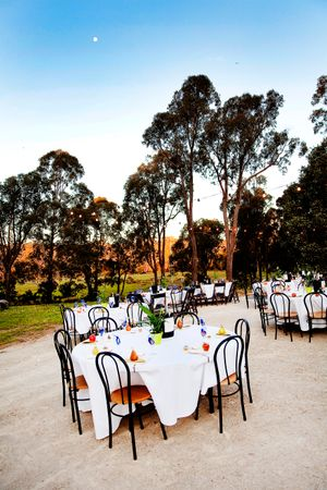 Outdoor wedding reception setup in Canberra