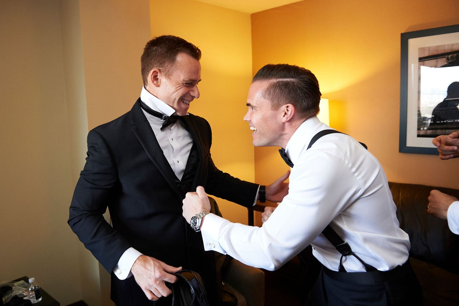 groom and groomsman at the Marriott in Old City Philadelphia