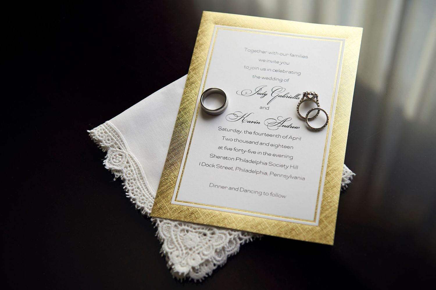 invitations at at the Marriott in Old City Philadelphia
