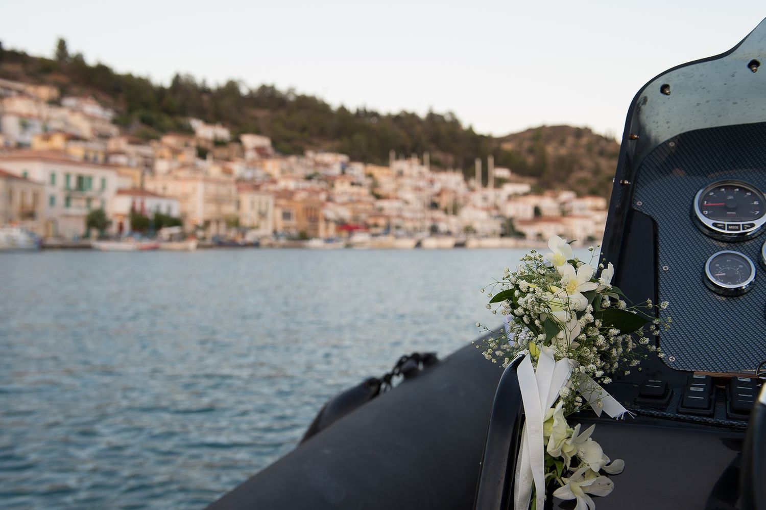 flower detail of boat with poros island in the background