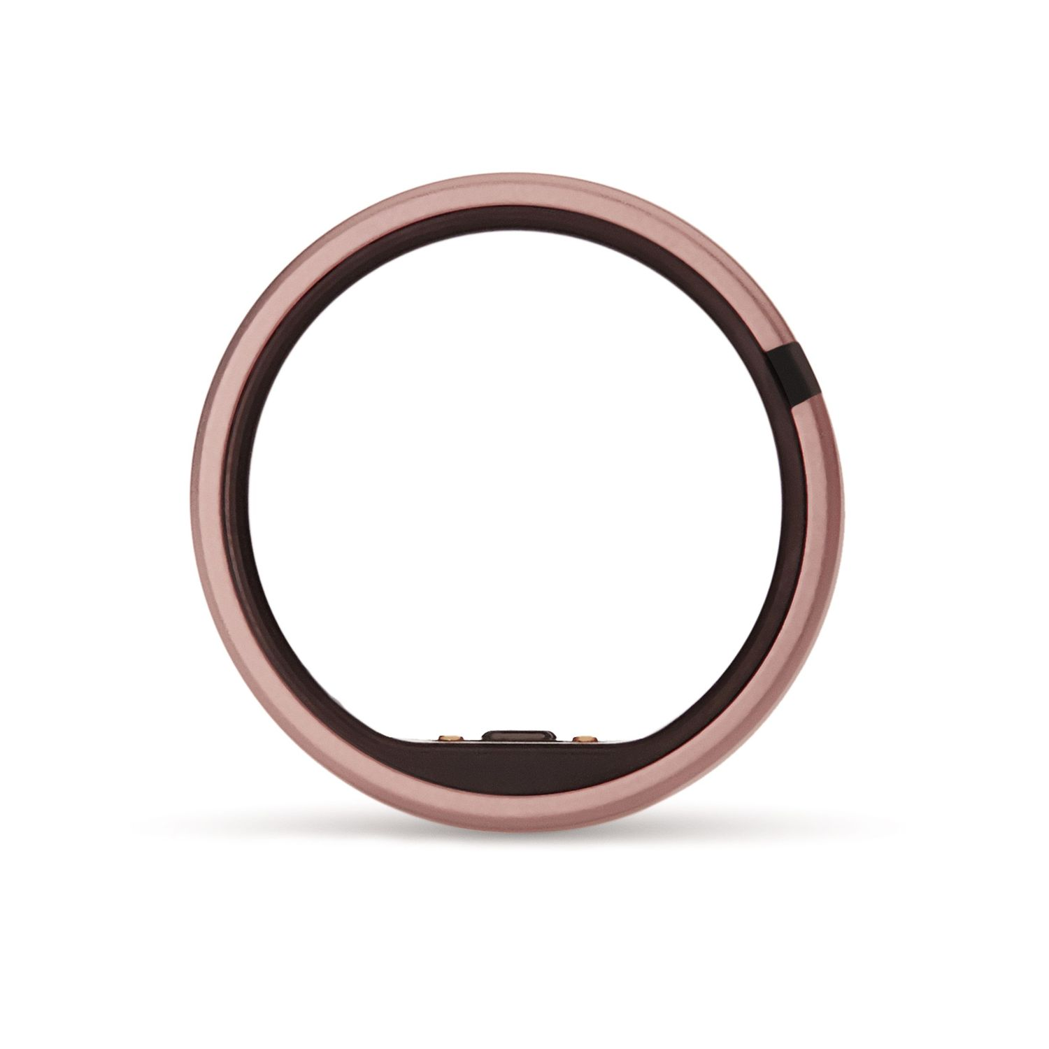 rose colored Motiv ring on white background facing forward