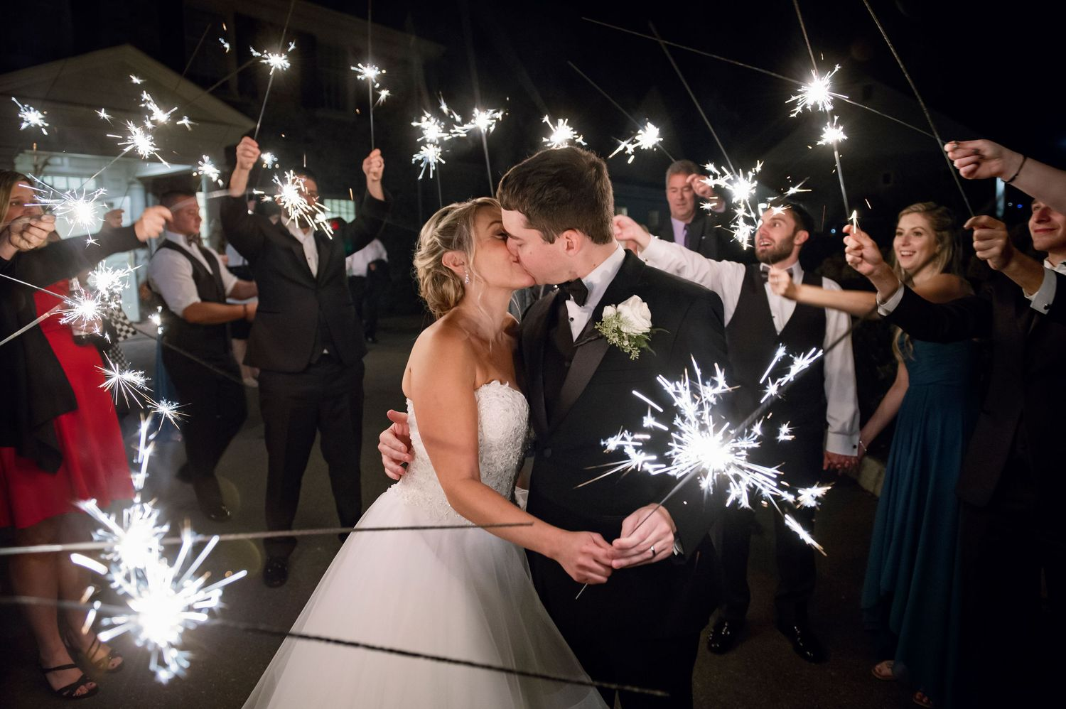sparkler send off wedding photo at french creek golf club