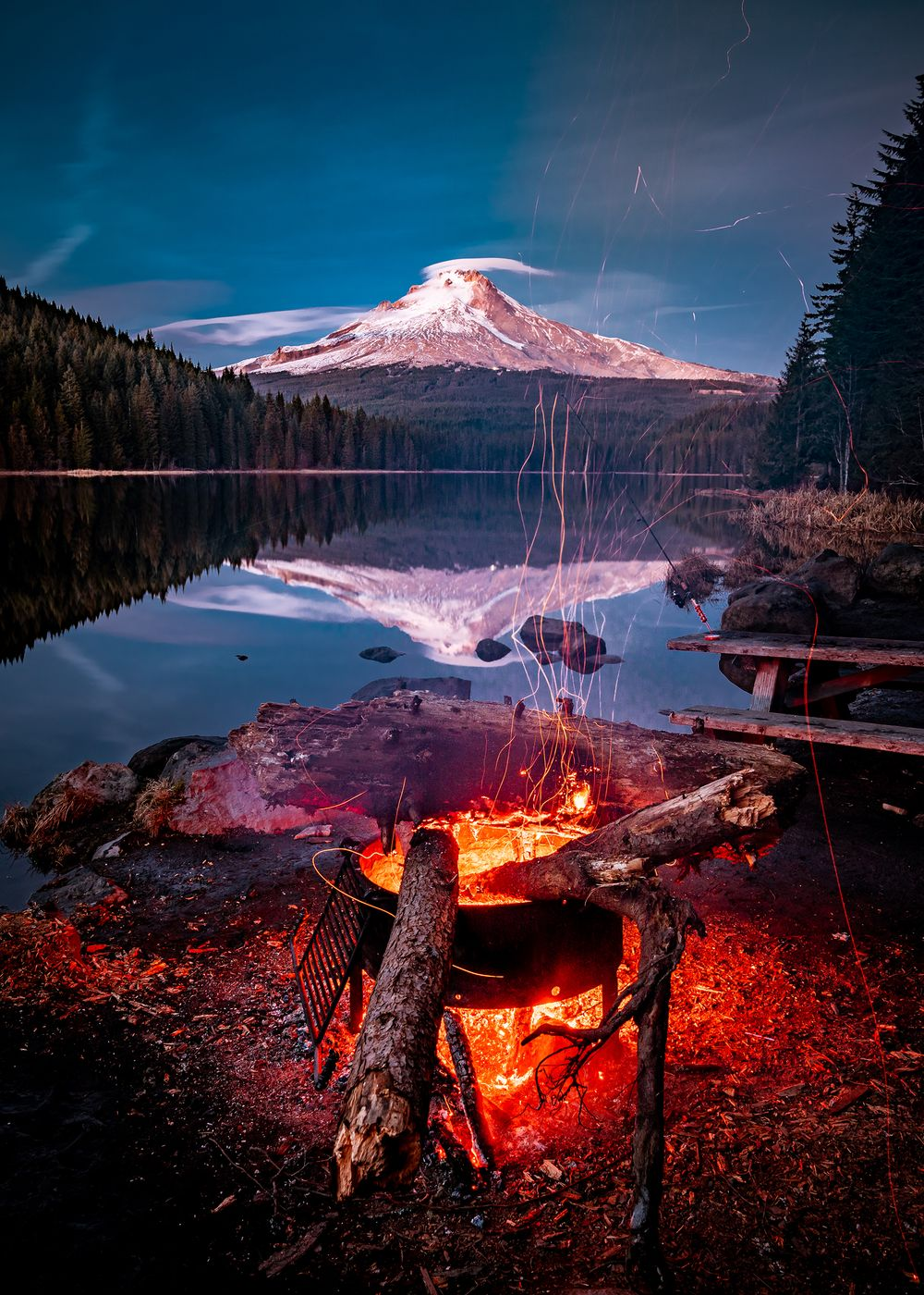 Trillium Lake, Mount Hood Reflection with Campfire
