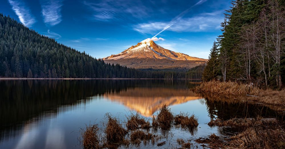 Trillium Lake, Mount Hood Reflection, Panoramic Mountain View
