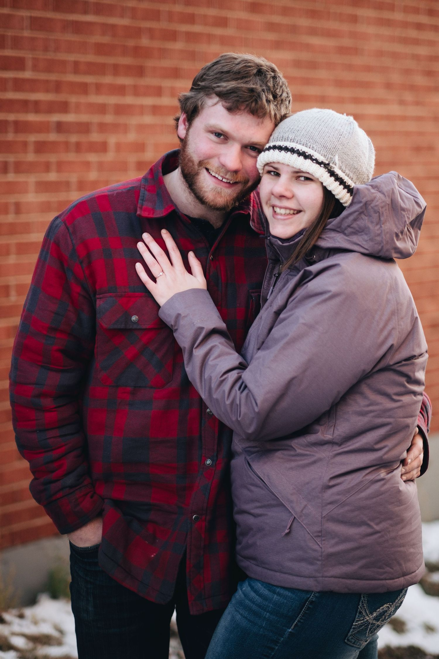 winter engagement sunset