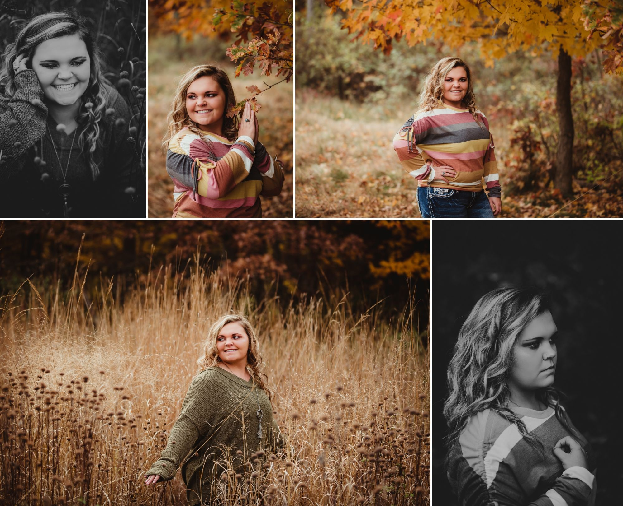 High school senior girl near fall foliage and in a brown field.