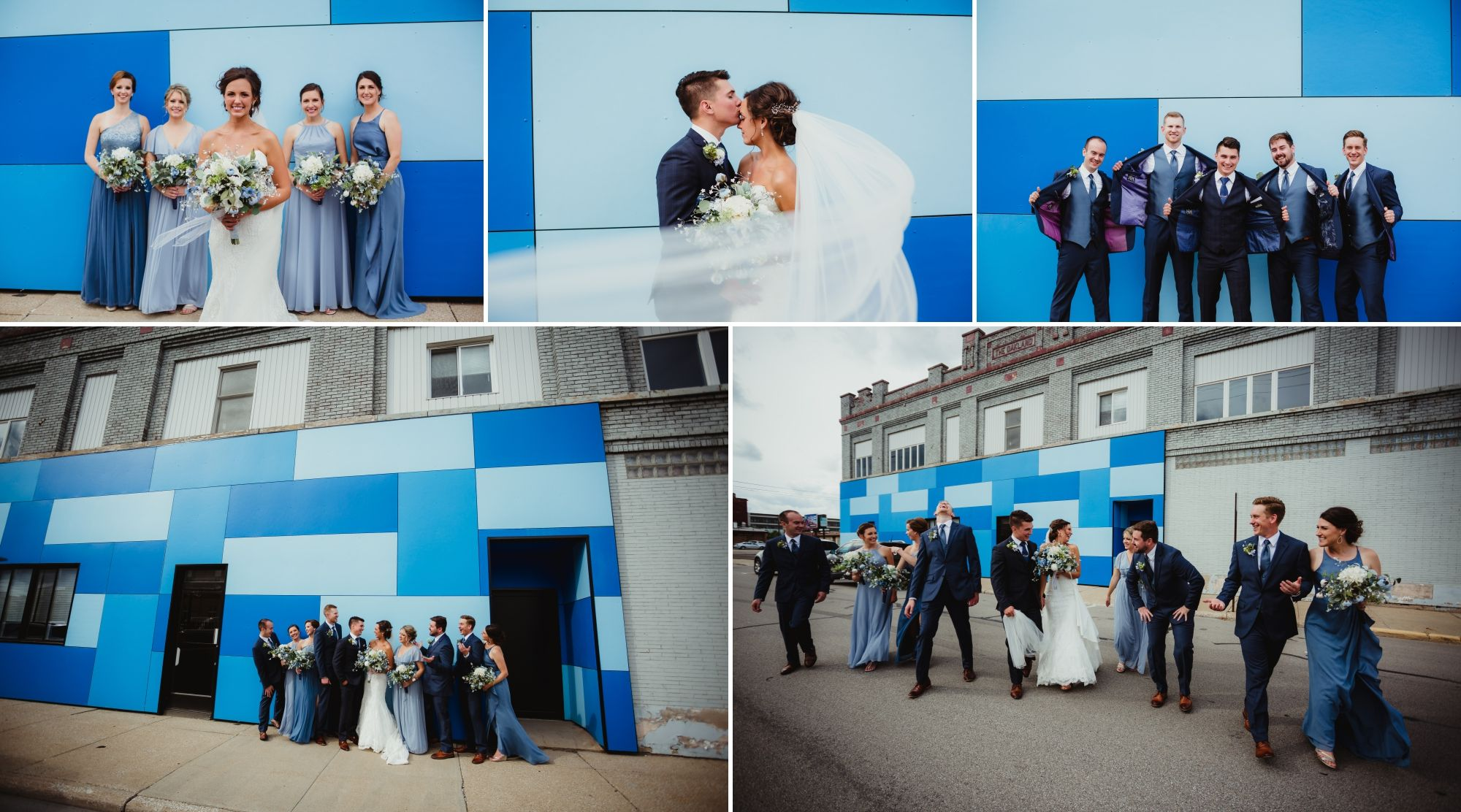 Various wedding party poses in front of a wall with blocks of shades of blue in downtown Bay City.