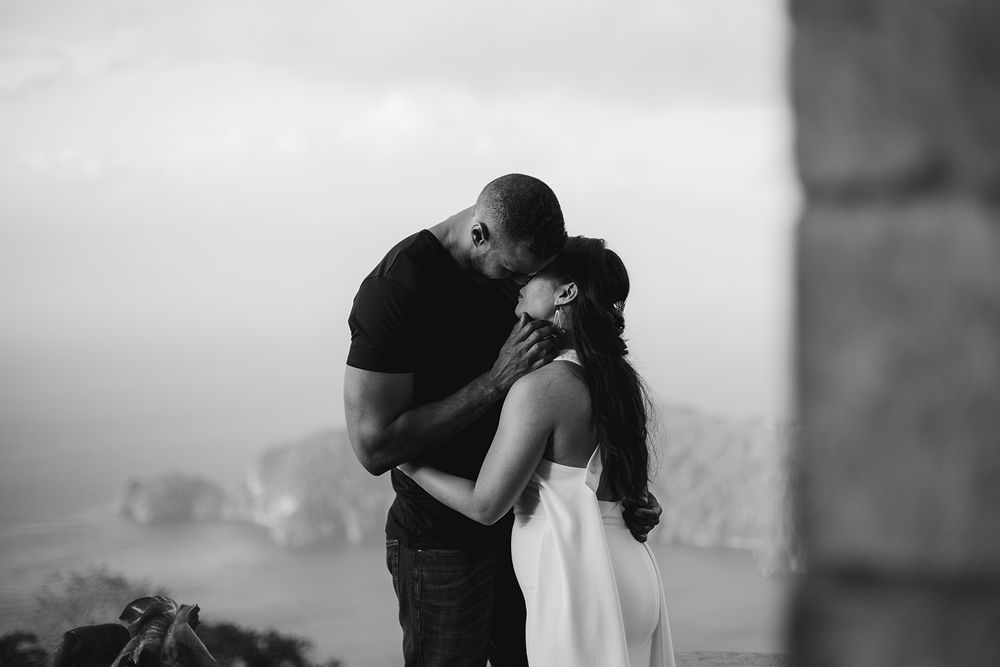 Caribbean engagement couple portrait
