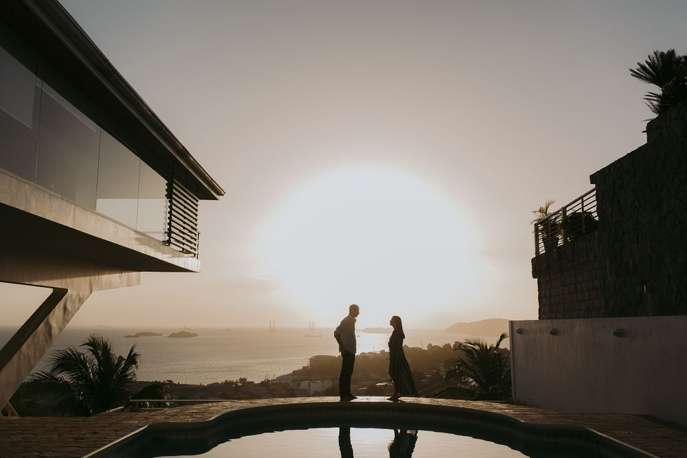 Caribbean engagement couple portrait sunset