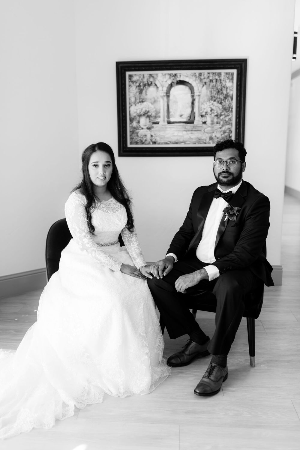 Black and white image of bride and groom at D'Vine Grace Vineyard
