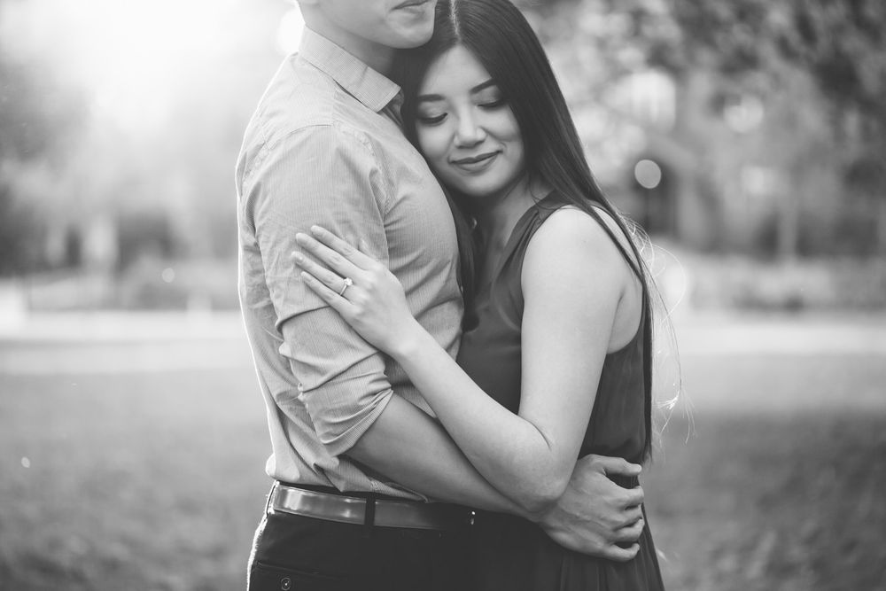 black and white couple hugging