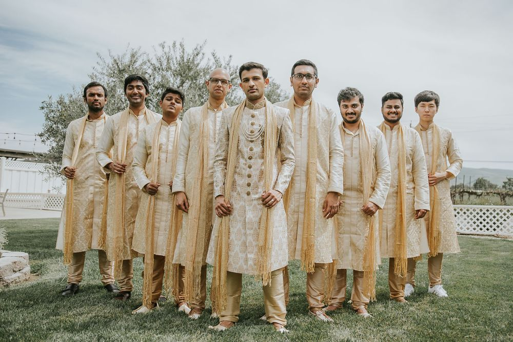 rebecca skidgel photography garre winery indian wedding california groom and groomsmen flying v