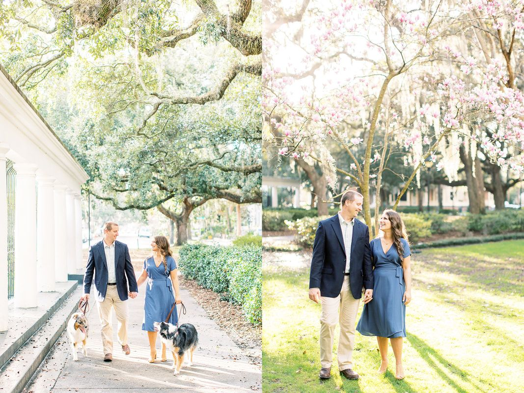 engagement session in forsyth park of downtown savannah, ga