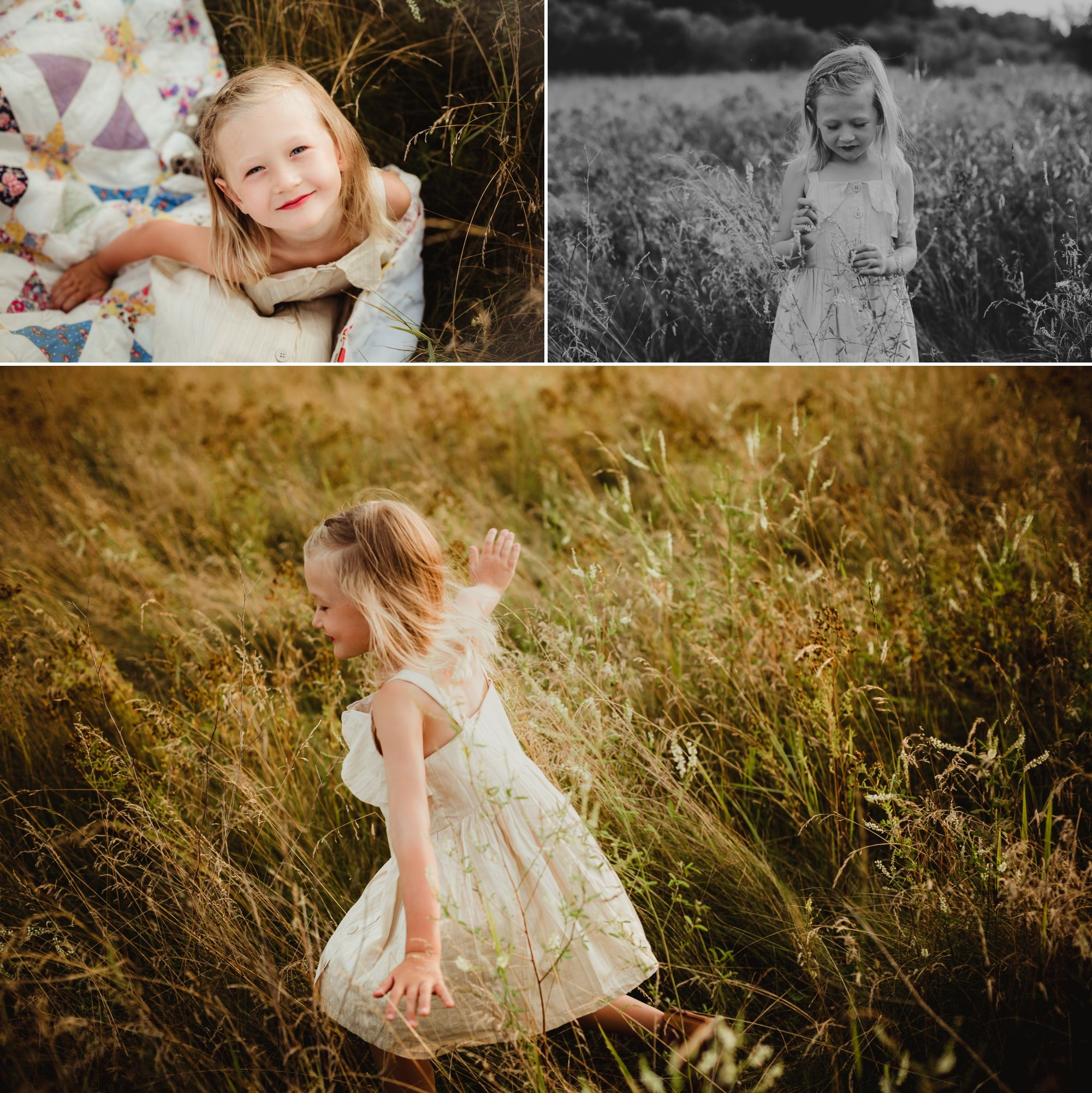 Collage of young blonde girl smiling, sitting, and a running through a gold and green field.