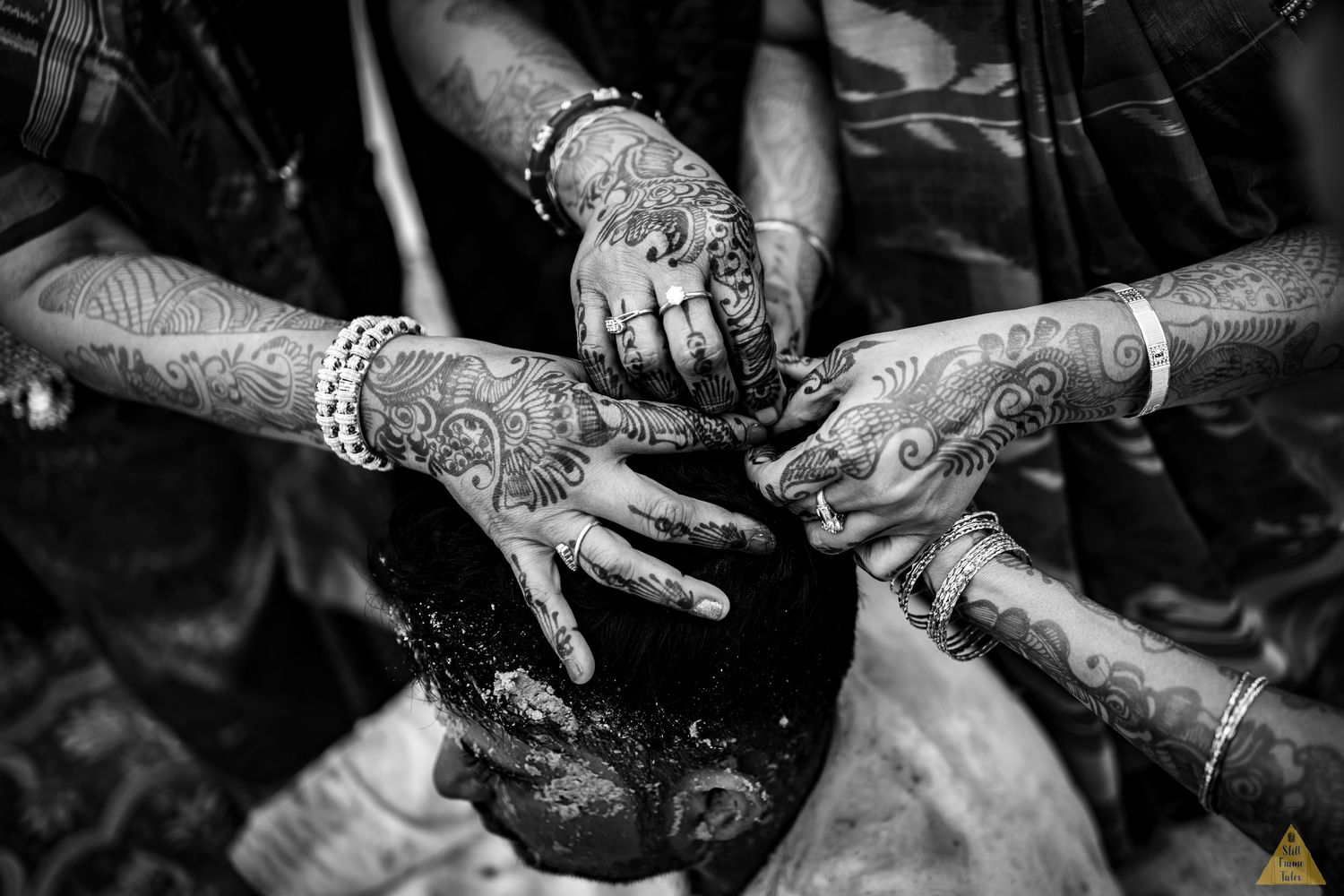 Hands details on groom head for an haldi ritual