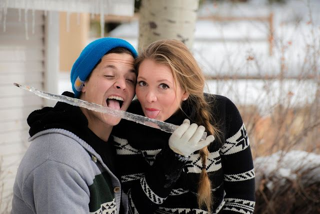 Couple licking an icicle