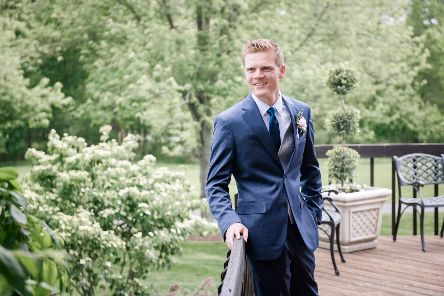 groom portrait at backyard farm wedding