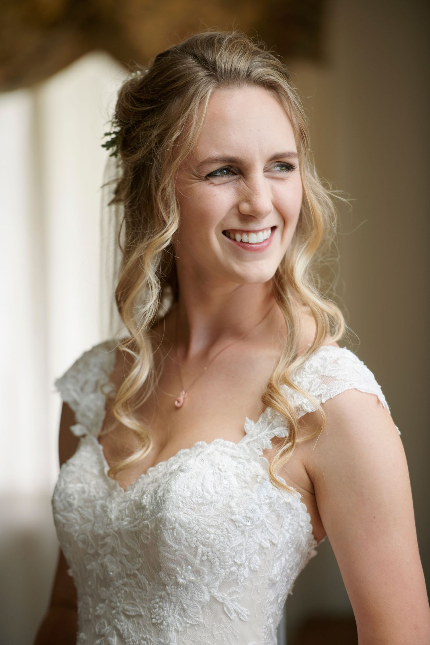 bridal portrait of bride before backyard farm wedding