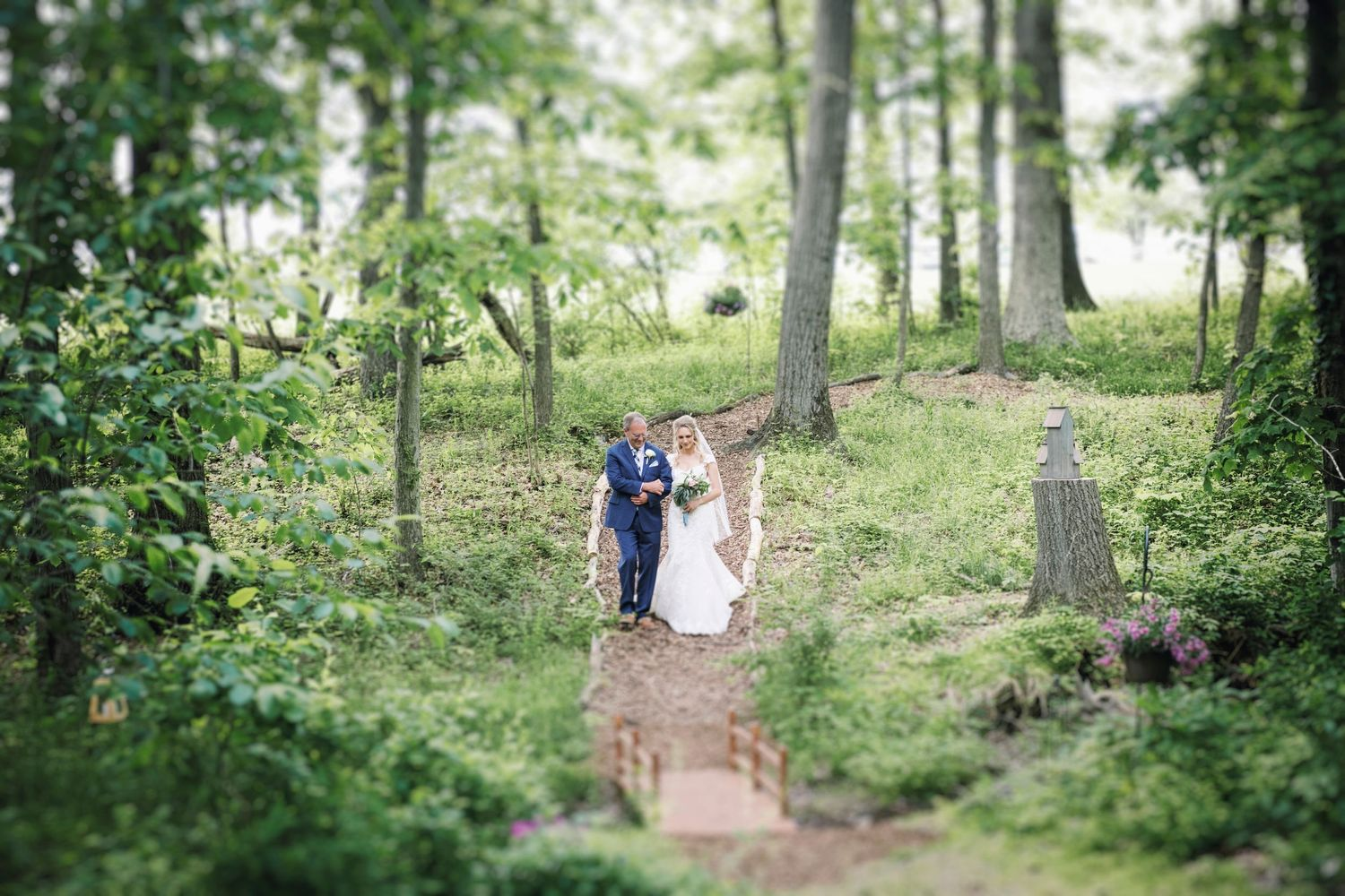 bride escorted by father during backyard farm wedding in woods