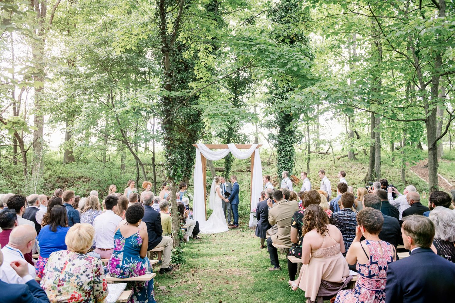 backyard farm wedding in woods