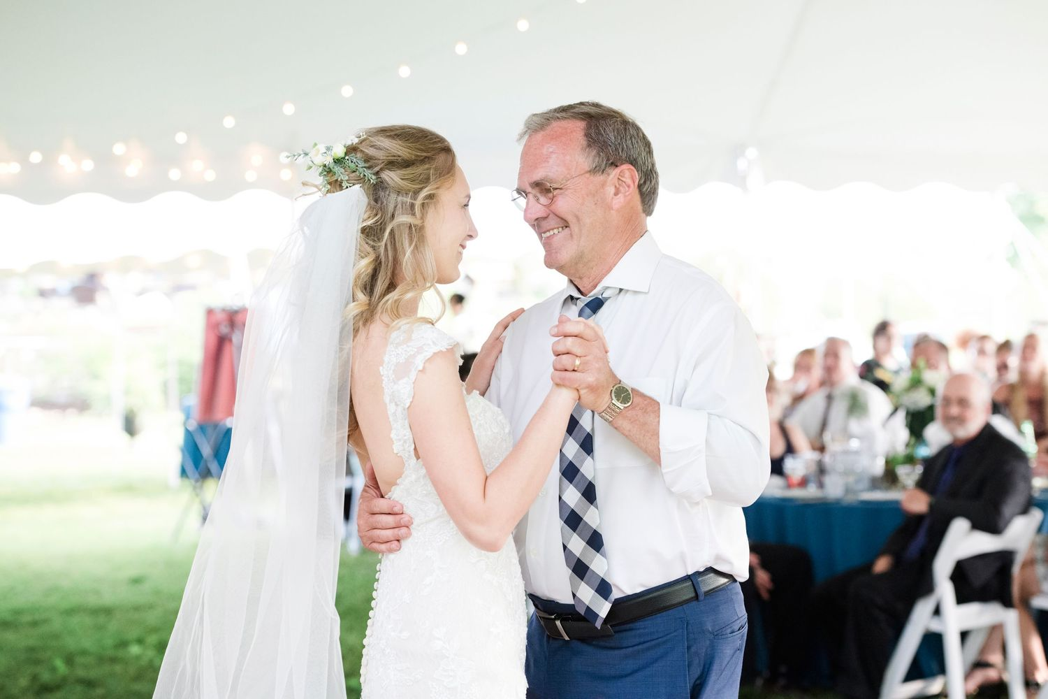 father daughter dance at backyard farm wedding