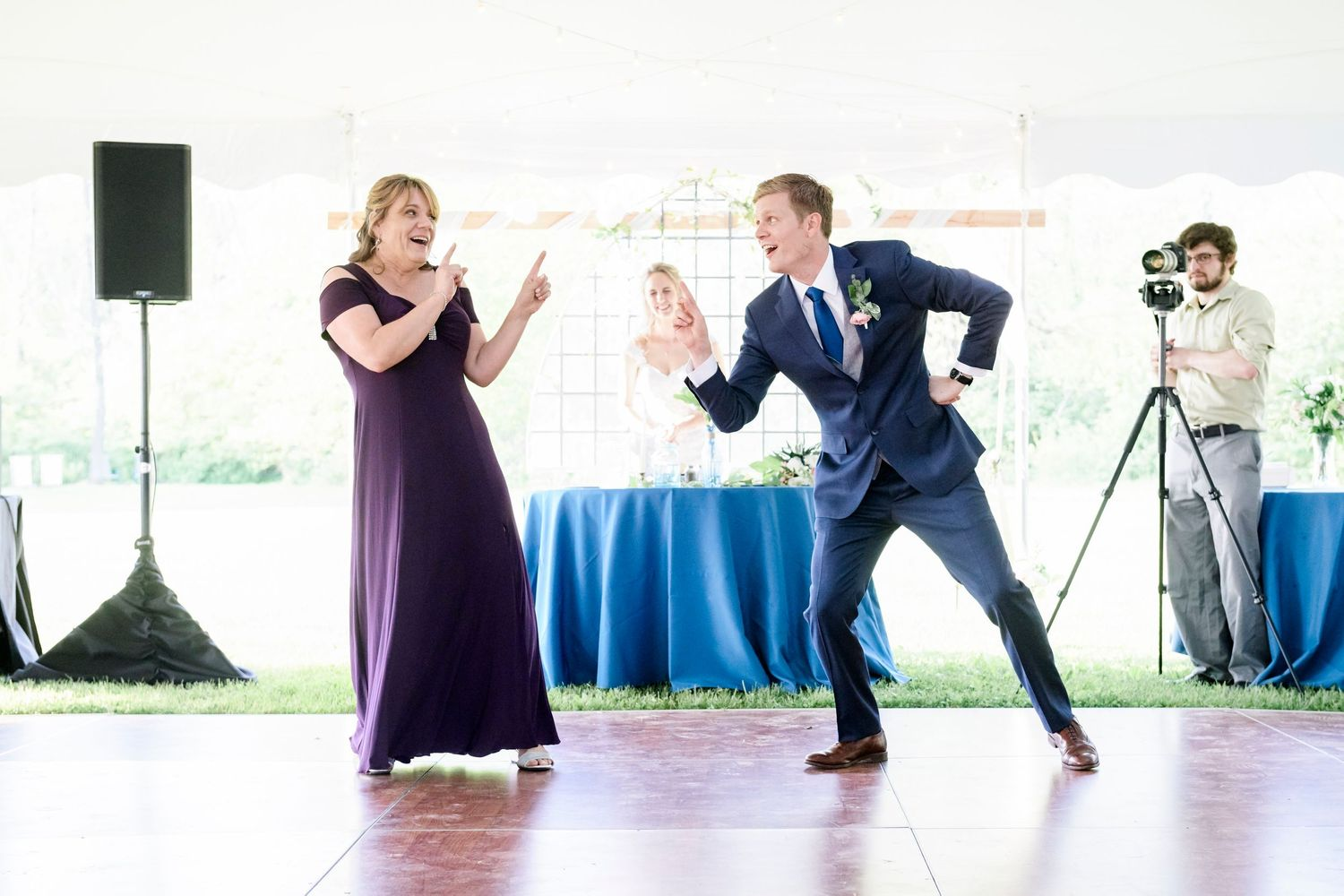 fun mother son dance at backyard farm wedding