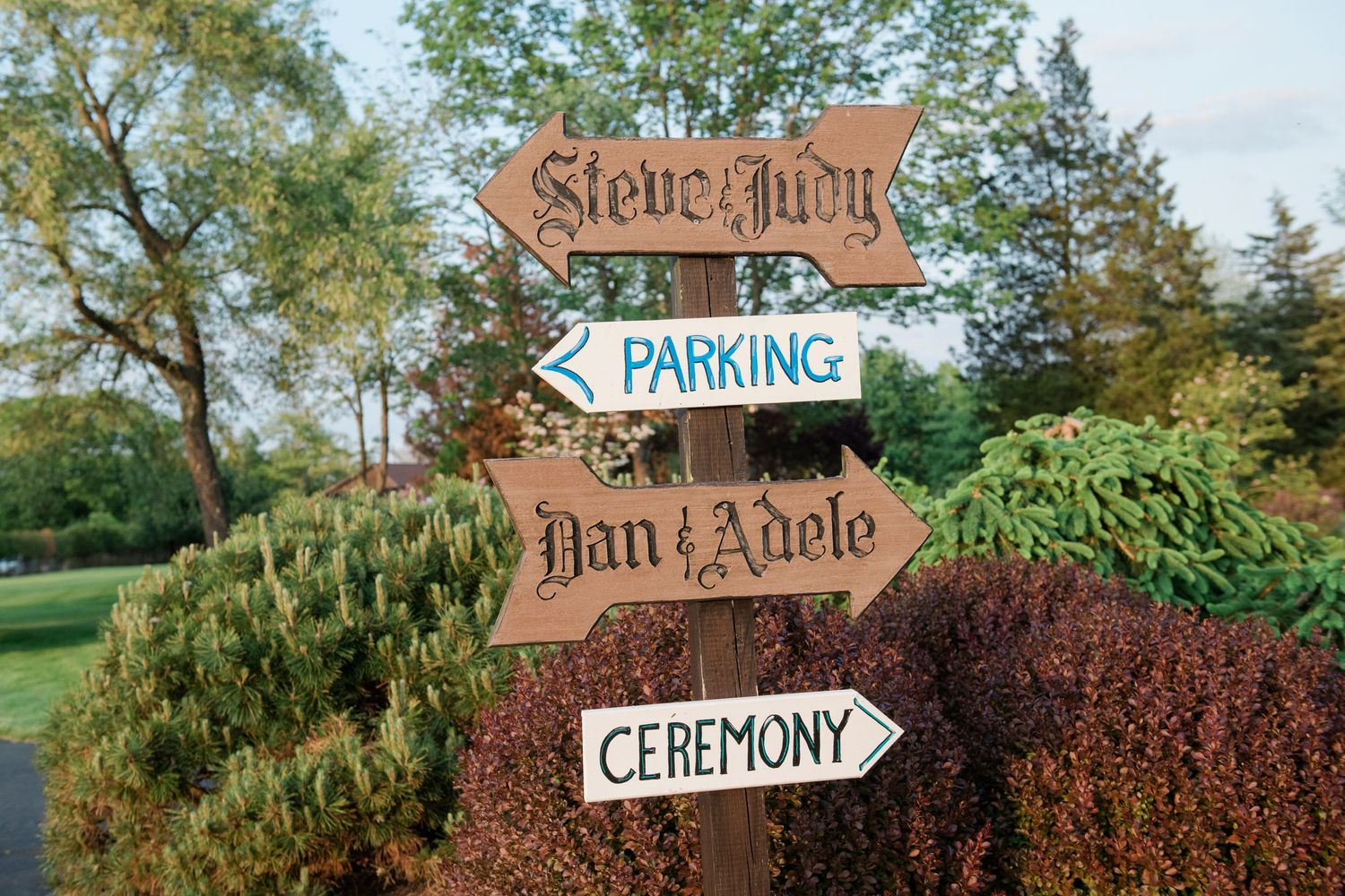 signage for backyard farm wedding