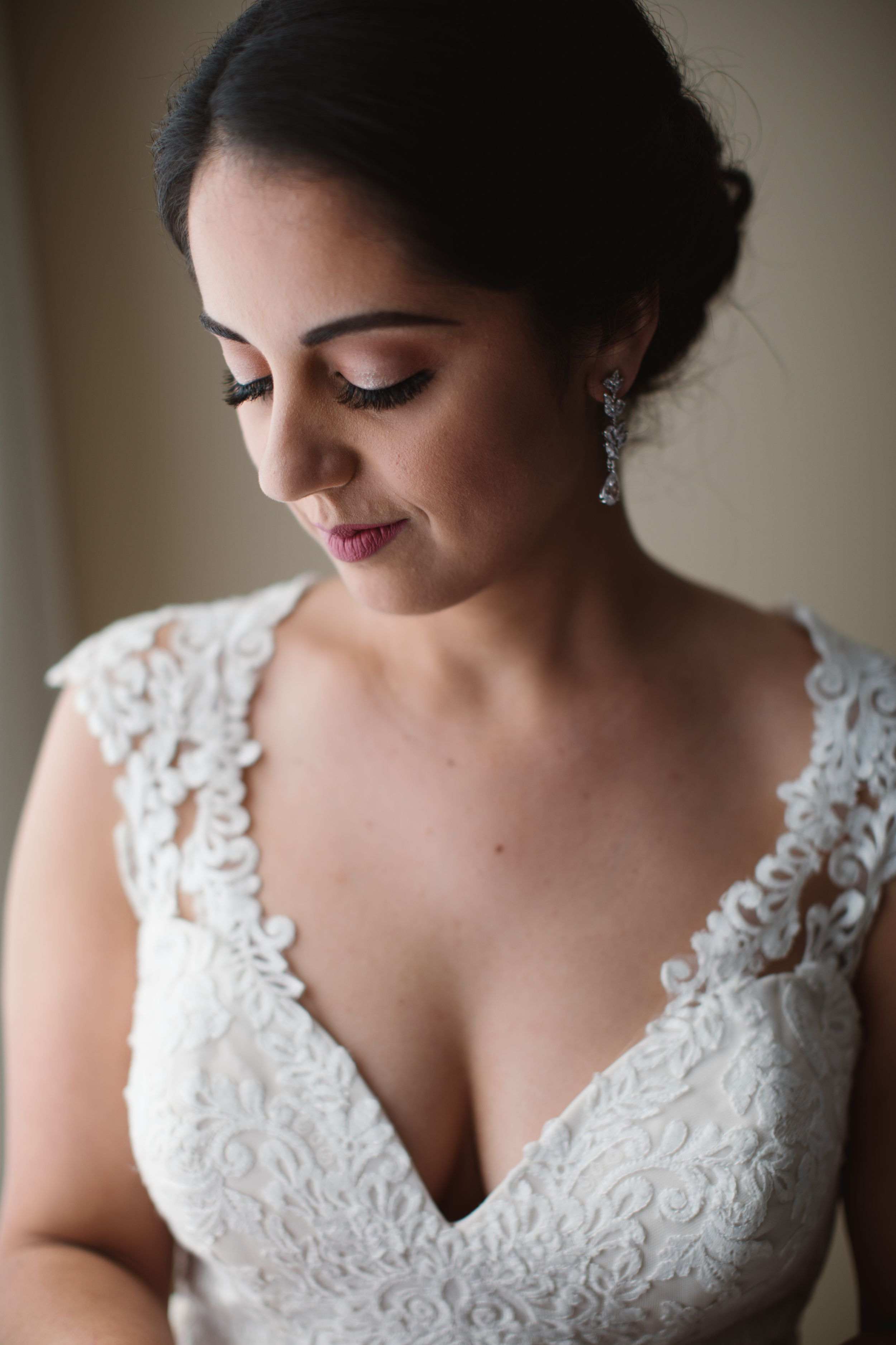 close up portrait of a bride in wedding dress
