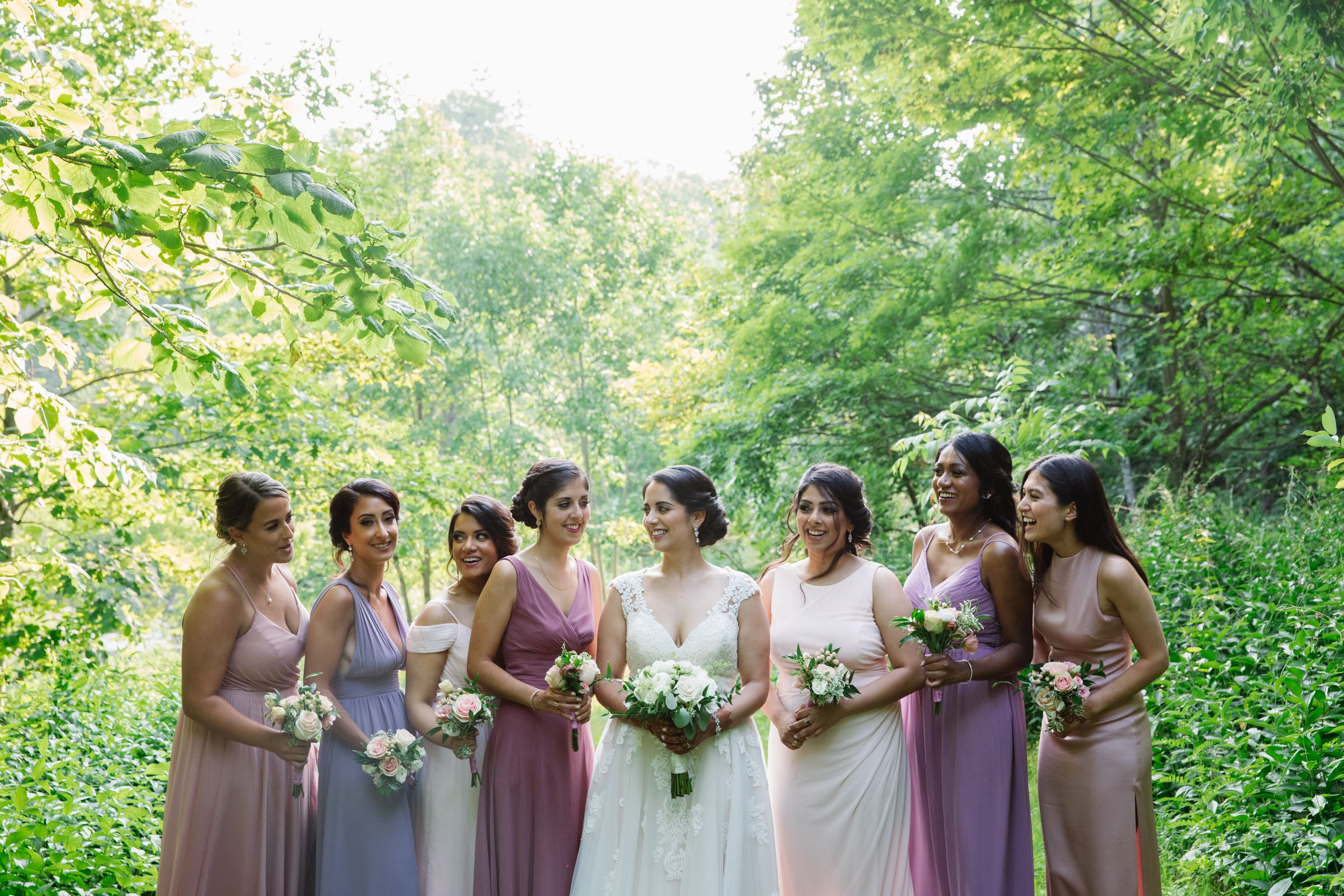 bride with bridesmaids at rouge park